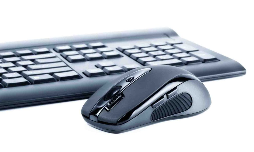 wireless black set mouse and computer keyboard isolated on white